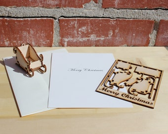 Merry Christmas! 3D Puzzle Sled Card & Ornament - Laser Cut Wood