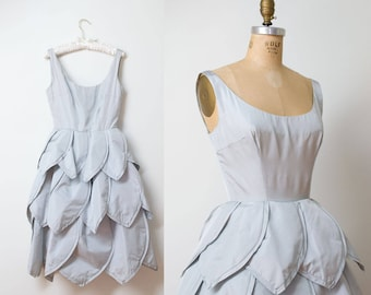 1950s Pale Blue Silk Petal Dress / 50s Maxwell Shieff Couture Dress