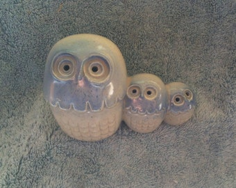 Vintage Owls Blue Hoot Owls Ceramic Owls Collectible Owl Figurine