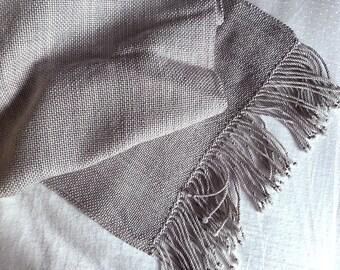Plaiding Scarf - Handwoven - Merino, Nylon, Silk, Cashmere - Grey Skies