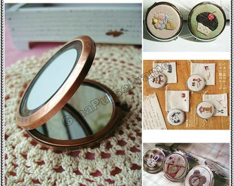 7cm(2 3/4inch) Patch-work Mirror-base Vintage-style metal frame (4color)  ///purse bag pouch making-1piece