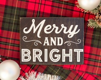 merry and bright sign, merry and bright wood sign, wooden merry and bright signs, farmhouse christmas sign, rustic holiday signs, Christmas