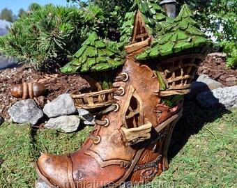 Witchy Boot Fairy House for Miniature Garden, Fairy Garden