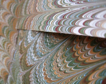 "Hand-marbled Paper Set of 3 Marbled End Papers for Book Binding - ""Antique Ensemble"" Collection Ensemble"