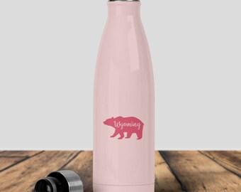 Pink Water Bottle,Swig Water Bottle, Bear Water bottle, Wyoming Water Bottle, Inspirational Quote, Stainless Water Bottle,