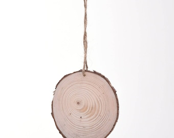 ONE Round Wooden Wood Tree Log Slice - 7-8cm with Drilled Hole & Jute Rope
