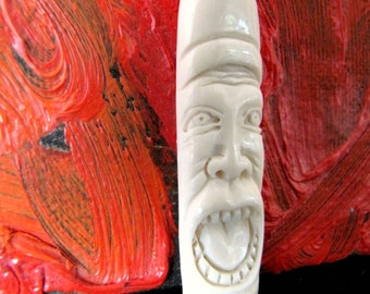 Funny Face No. 8 Carved Bone Pendant Bead 50mm