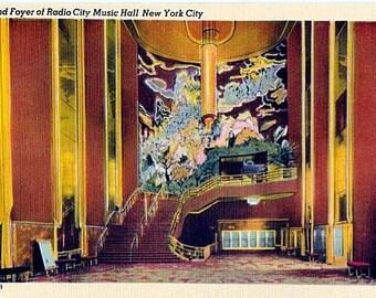 Vintage New York City Postcard - The Grand Foyer of Radio City Music Hall (Unused)