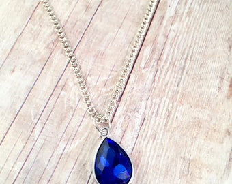 Blue Teardrop pendant Necklace,  Fancy, Dressy necklace, Formal Jewelry, Homecoming, crystal,  Pendant Royal Blue, Sapphire elegant Jewelry