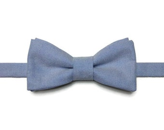 BowTie, clear blue chambray BowTie, bowtie, bow tie pre tied, gift for her, gift man