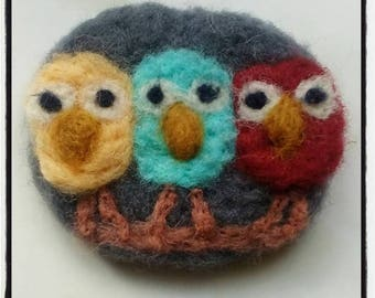 Brooch pin 3 owl needle felted handmade perfect for gift brooch