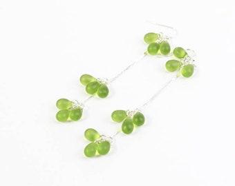 green silver cluster earrings dangle jewelry for wife elegant midi long earrings 925 silver hook summer jewelry пя142