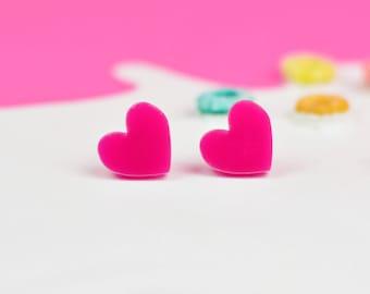 Bright Pink Heart Earrings | Valentines Jewellery | Nickel Free Earrings for Sensitive Ears