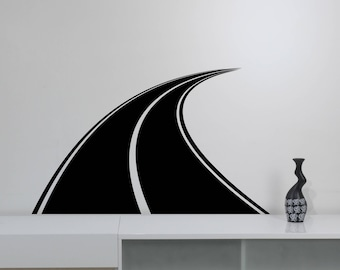 Highway Road Wall Decal Traffic Speedway Vinyl Sticker Horizontal Winding Way Art Racing Decorations for Home Kids Boys Room Decor rd1