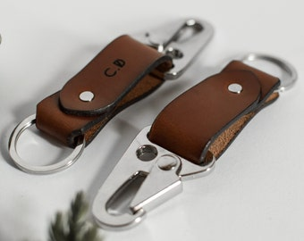 Leather HK Keychain, Leather keyring, Personalized gift, Personalized Keychain, Gift for him, Brown vegtanned leather
