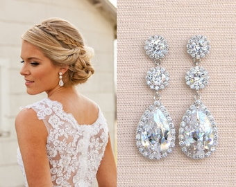Crystal Bridal Earrings, Wedding earrings, Long Bridal earrings, Bridesmaids, Swarovski Wedding Jewelry,  Long Crystal Stud Earrings