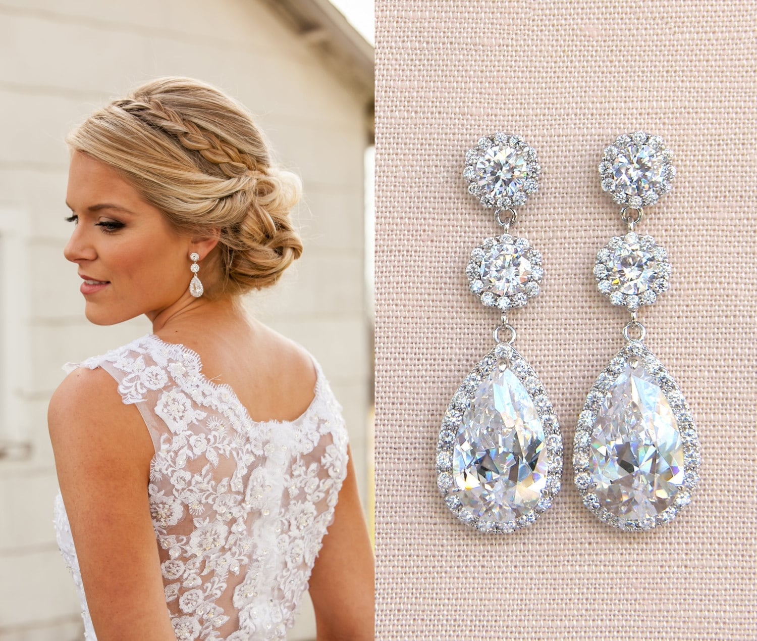 Crystal Bridal Earrings Wedding earrings Long Bridal