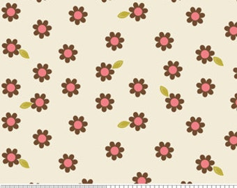 Indian Summer by Zoe Pearn c2612 Brown and Cream Floral Fabric by Riley Blake Designs - Brown Flower Fabric - Designer Fabric Textiles