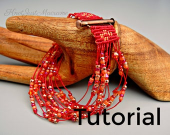 Micro Macrame Tutorial - Marrakesh Bracelet - Pattern - Beaded Macrame - Jewelry Making - DIY