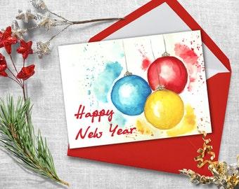 Printable christmas card. Watercolor christmas card. Digital christmas greeting cards.