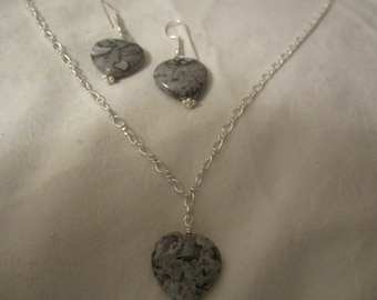Chinese Picasso Jasper heart necklace and earrings set