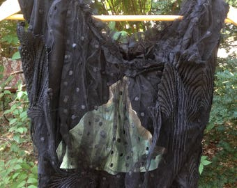 antique Victorian ladies black blouse - size small - lace and silk