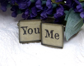You Me Antique Brass Square Cufflinks