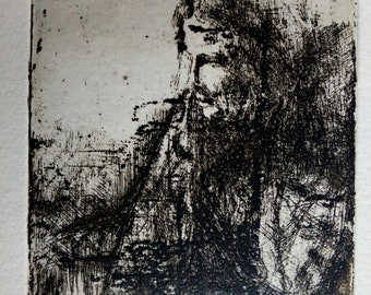 Art print, chalcographic engraving, etching, Face #012
