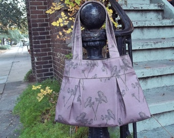 Plum Purple Hobo Bag - Queen Anns Lace Fabric - 3 Pockets - Key Fob