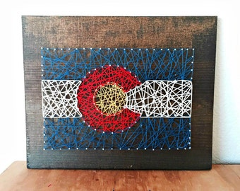 Colorado Flag String Art, Colorado Flag, Colorado Art, Colorado Gifts, Rustic Colorado, Colorado Sign, Colorado Pride, String Art
