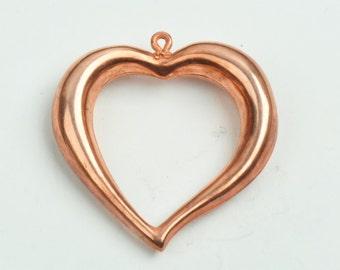 Heart Pendant, open heart shape 38x40mm Open Heart Pendant Charm, Gold, pack of 1 --09546BRC