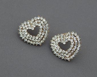 Rhinestone Heart Earrings, Sparkling Clear Crystal Hearts Earrings, Romantic Valentine's Day Jewelry