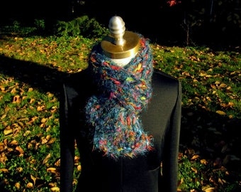 Multi Yarn Cushy Colorful Reversible Flared Ribbed Scarf