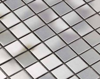 Metallic Mosaic Tile Silver Square Silver Stainless Steel Metal Wall Decoration Tile Bathroom Backsplash Wall Decor