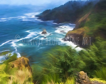Rocky Oregon Coast fine art print, photo art, painted photo, pacific northwest art, wall art, wall decor, rocky shore, pacific coast art