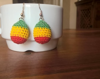 Crochet green, yellow and red stripped earrings