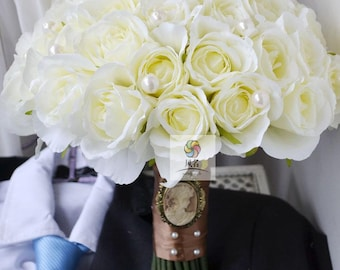 weding bouquet artificial flower white rose