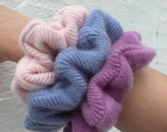 3 scrunchy hairbands cashmere bun makers Three hair care accessories Soft large hairties Big bun holders blue, pink & purple scrunchies set.