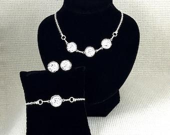 Silver Druzy Jewelry Set - Druzy - Silver - Druzy Necklace - Druzy Bracelet - Druzy Earrings - Set - Silver Jewelry - Gift - Jewelry - Women