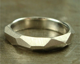 Chiseled Ring - Faceted Band - 950 palladium, 14K white gold or platinum - 4mm wide