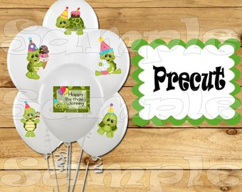 Turtle Balloon Stickers Labels Party favors cup stickers goodie bags decorations supplies Turtle Birthday Party Balloons Precut Personalized