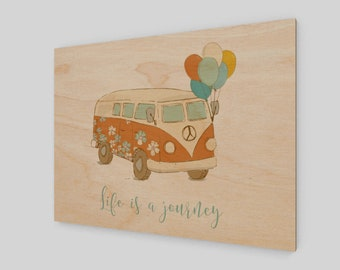 Life is a Journey, Wood Print, Wood Sign, Rustic Wood Sign, Gift for Her, Gift for Him, Inspirational Saying, Cute Little Sign