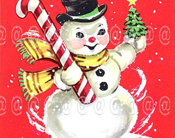 Digital download vintage Christmas card, snowman with candy cane and Christmas tree