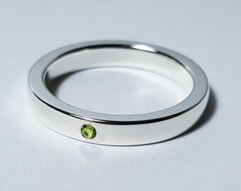 Thin Peridot Band in Sterling Silver - Peridot Band, Peridot Ring, Sterling Silver Wedding Band, Engagement Band, Peridot Engagement Ring