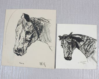 Antique Original Pen and Ink Drawings of a Horses By W Russell and XXR