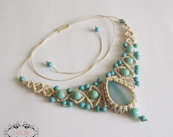 Macrame necklace - Beige and Turquoise Macrame Necklace - Micromacrame Necklace Micro-macrame