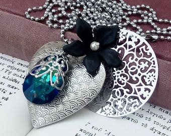 Large Locket Necklace/Heart Locket/Gothic Locket/Gothic Jewelry/Blue Swarovski/Black Flower/Long Chain Pendant/Boho Necklace/Boho Jewelry
