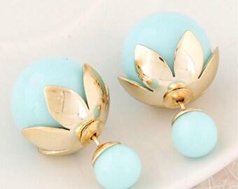 Double Pearl Earrings, Double Ball Earrings, Double Sided Earrings, Double Stud Earrings