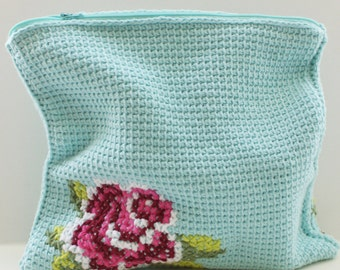 "DIY Tunisian Crochet PATTERN - Cotton Pink Rose Bloom Clutch (11"" x 11"") (tunisian007)"