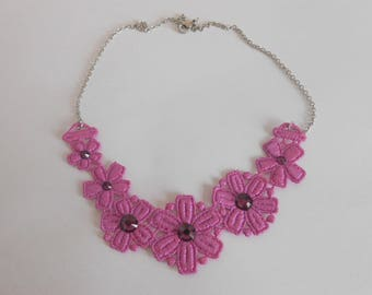 Pink Orchid Necklace guipure and steel with Rhinestones
